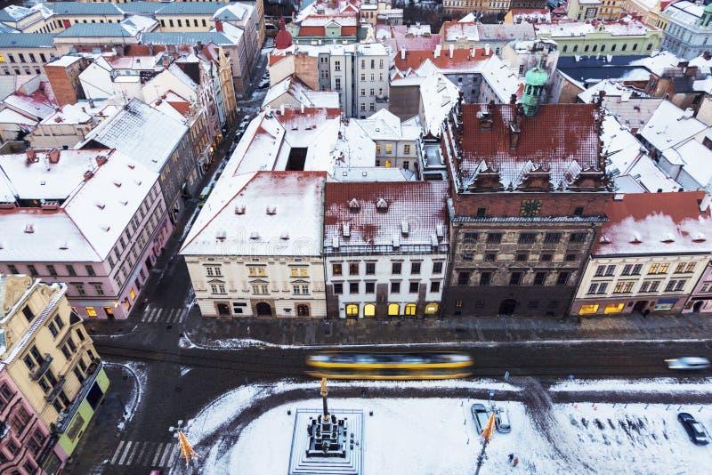 Старая ратуша на квадрате в Pilsen - виде с воздуха республики стоковое изображение
