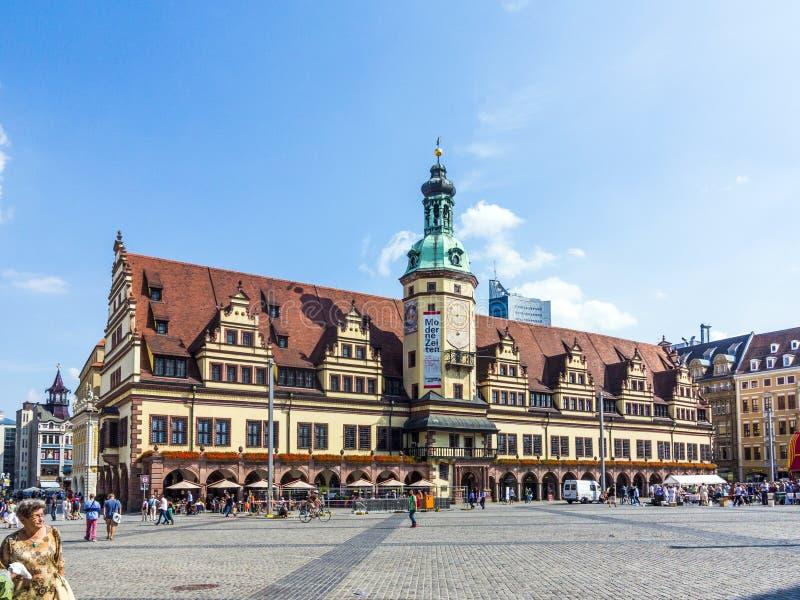 Старая ратуша на рыночной площади в Лейпциге стоковые фото
