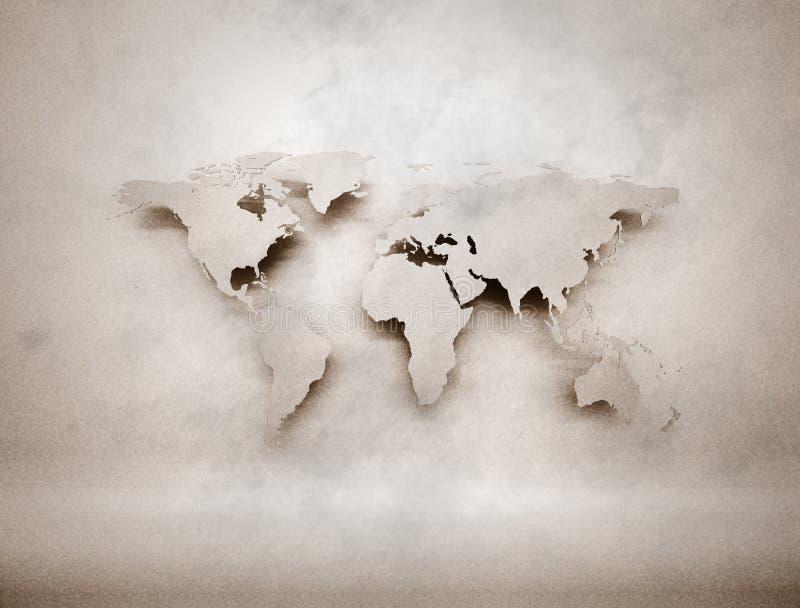 Старая ретро карта мира иллюстрация вектора