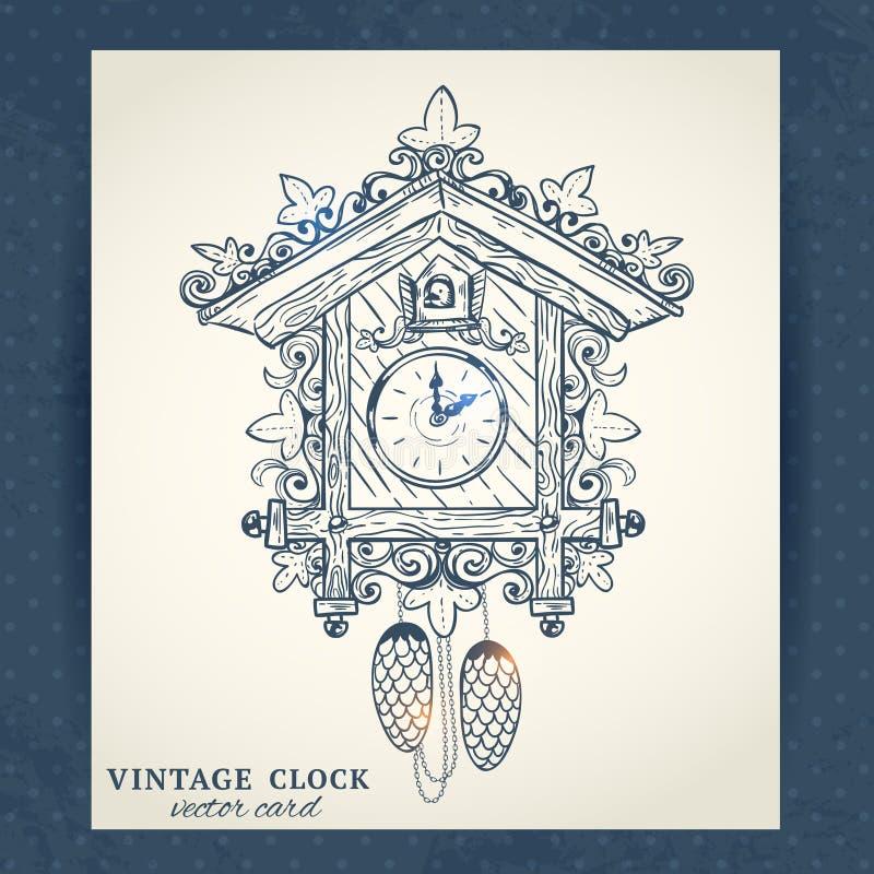 Старая ретро открытка часов с кукушкой бесплатная иллюстрация