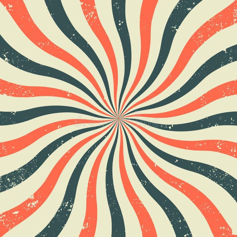 Старая ретро предпосылка с лучами и имитацией взрыва Винтажная картина starburst с текстурой щетинки Стиль цирка бесплатная иллюстрация