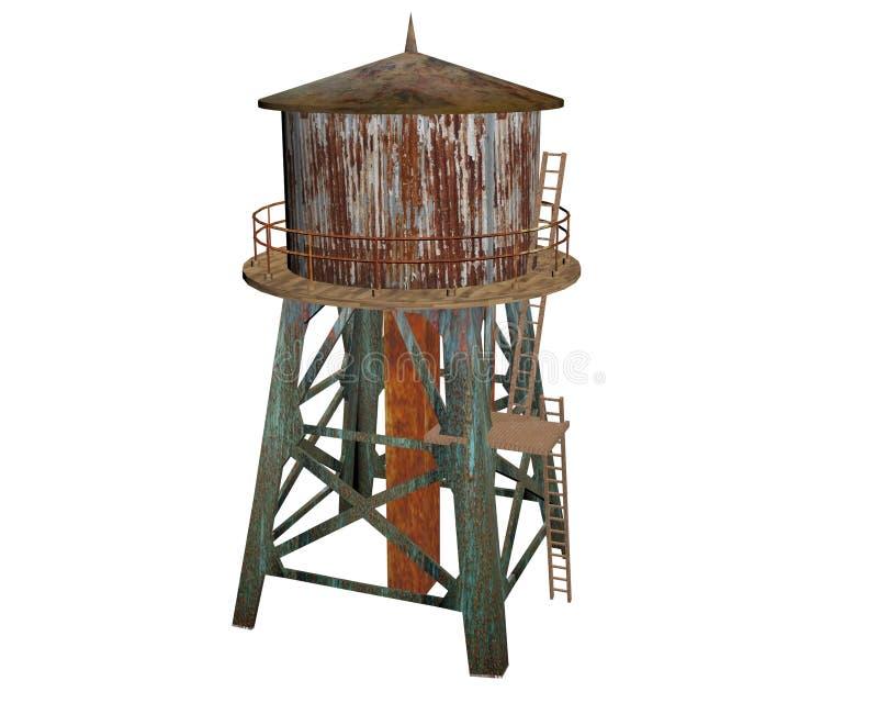 Старая ржавая водонапорная башня стоковое изображение