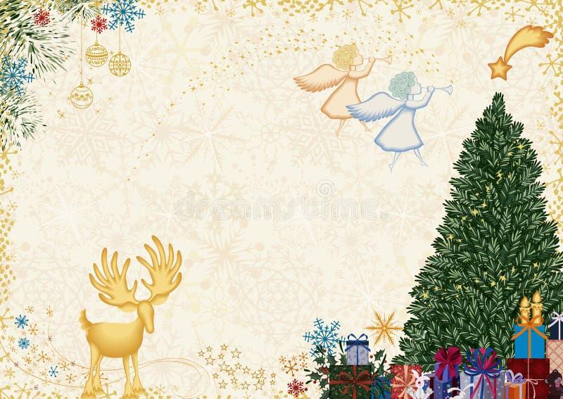 Старая рождественская открытка иллюстрация вектора