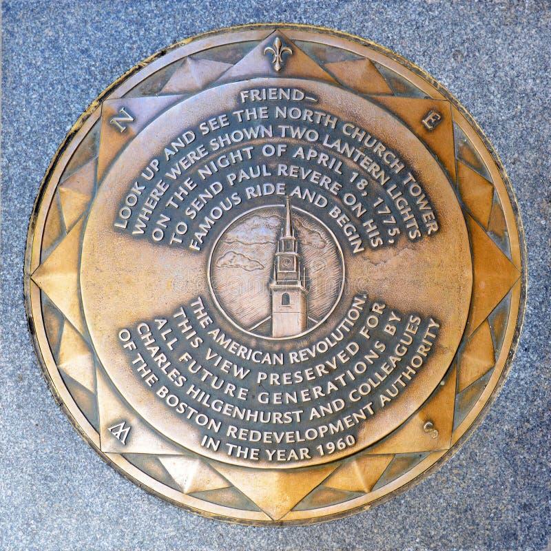 Старая северная отметка дороги церков, Бостон, США стоковые изображения rf