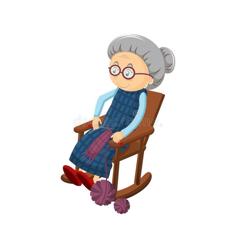 Старая седая бабушка, сидит в уютном стуле тряся, вышивающ, вязать иллюстрация штока