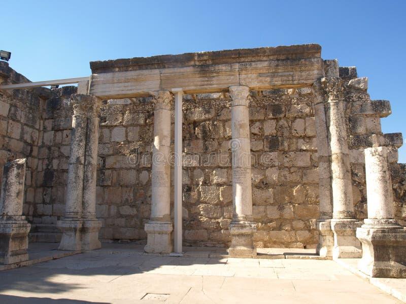 Старая синагога на Kfar Nahum стоковое изображение rf
