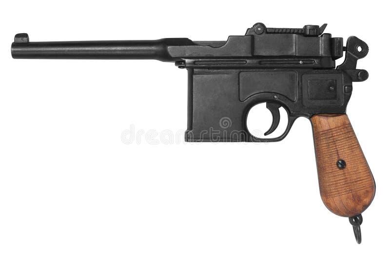 Старая система Mauser оружия изолированное на белизне стоковые фотографии rf