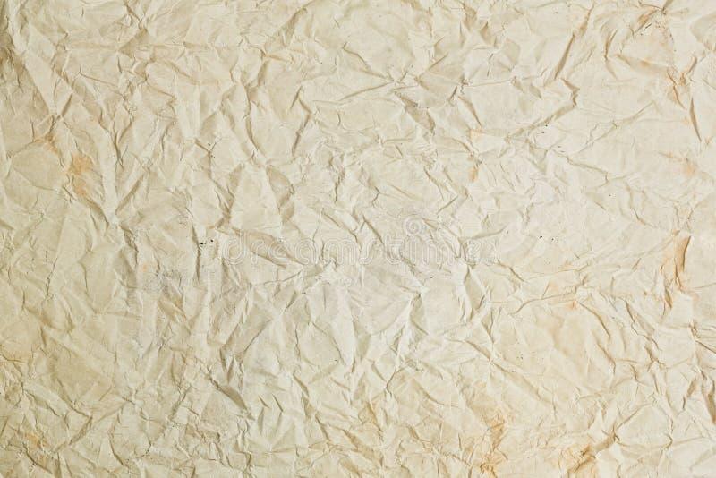 Старая скомканная бумажная предпосылка текстуры стоковые фотографии rf