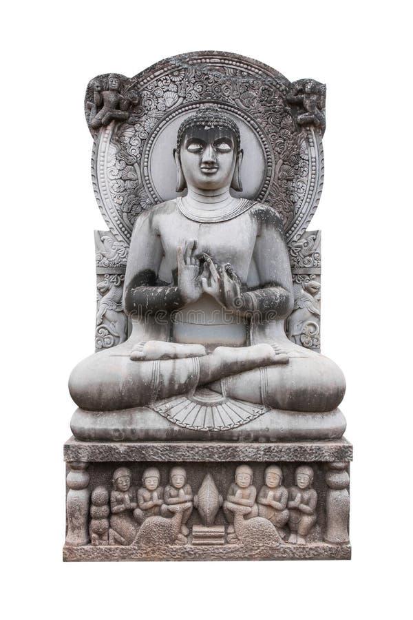Старая статуя изображения Будды изолированная на белой предпосылке Изолированная статуя Будды стоковое изображение rf