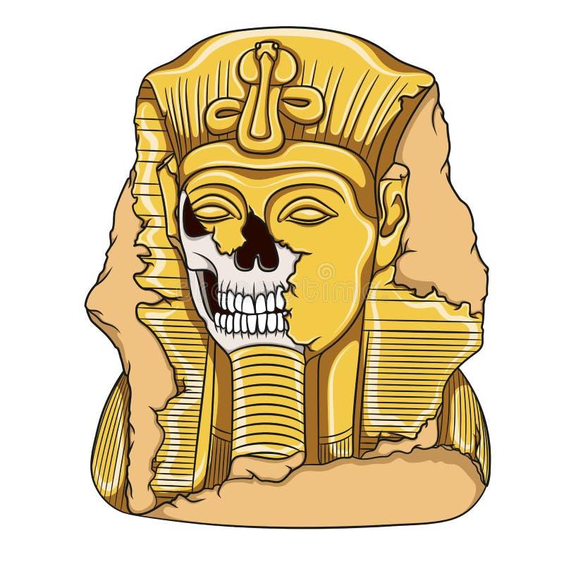 Старая статуя фараона черепа пристаньте вектор к берегу кассеты иллюстрации девушки цвета читая песочный иллюстрация штока