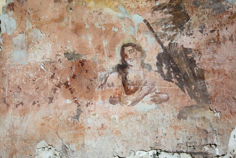 Старая стенная роспись в руинах церков стоковое изображение rf