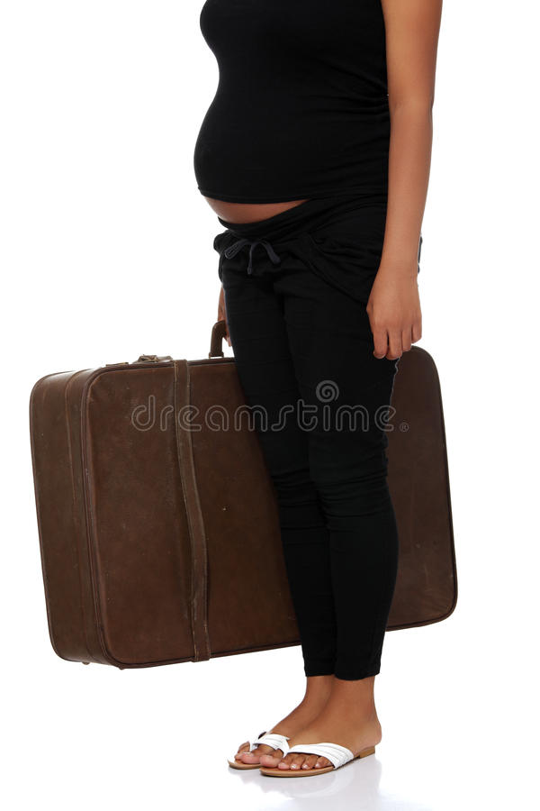старая супоросая женщина чемодана стоковые изображения