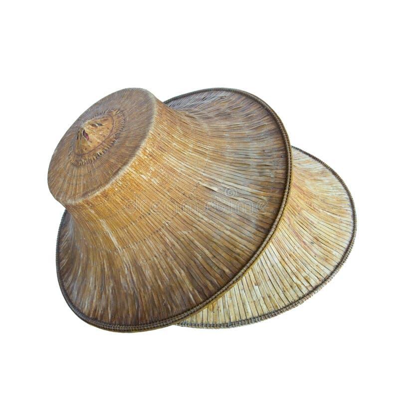 Старая тайская изолированная шляпа фермера стоковое изображение