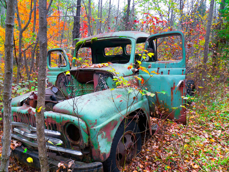 Старая тележка в лесе осени стоковая фотография rf