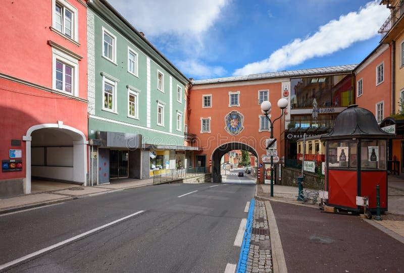Старая улица в историческом центре города Spittal der Drau Австралии стоковые фото