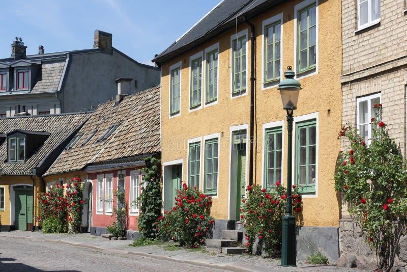 Старая улица в Lund Швеции стоковое изображение rf