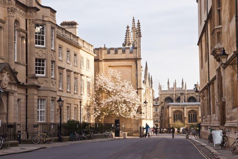 Старая улица в Оксфорде, Англии, Великобритании стоковое фото