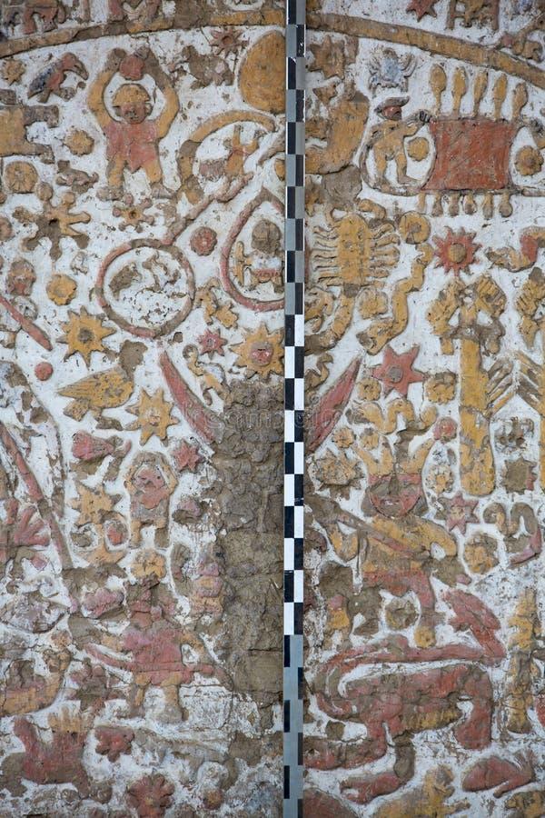 Старая фреска в Ла луне Huaca de, Trujillo стоковые изображения rf