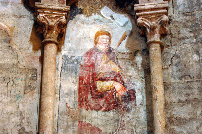 Старая фреска, настенная роспись в католическом соборе Alba Iulia, r стоковое фото