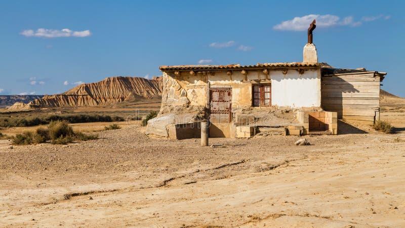 Старая хата в Bardenas Reales стоковое изображение