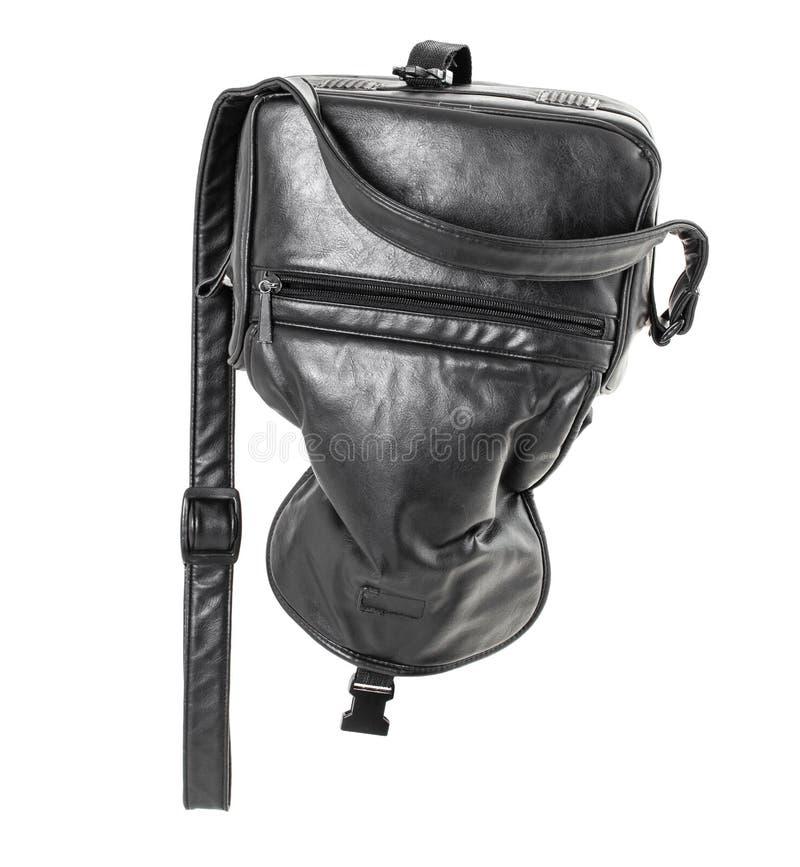Старая черная кожаная сумка стоковая фотография
