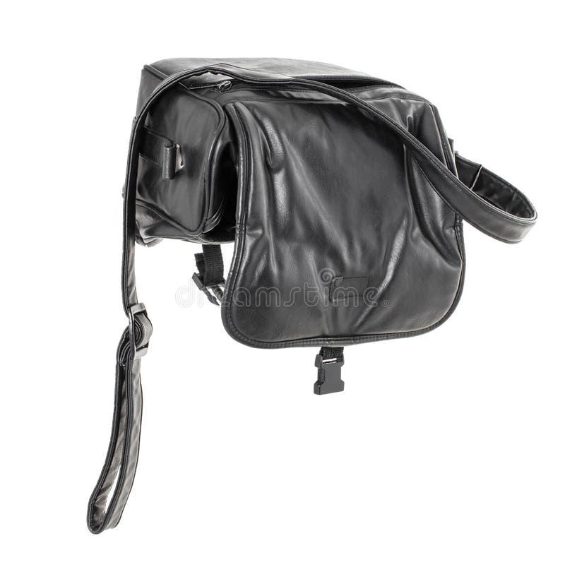 Старая черная кожаная сумка стоковое фото