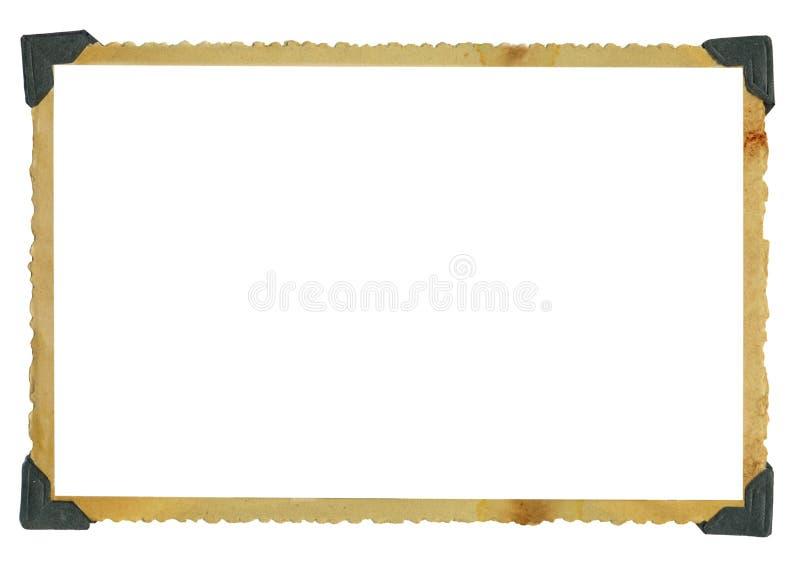 Старая grungy рамка фото, пустой фотоснимок с углами фото, изолированными на белой предпосылке, открытый космос для pics стоковые фотографии rf
