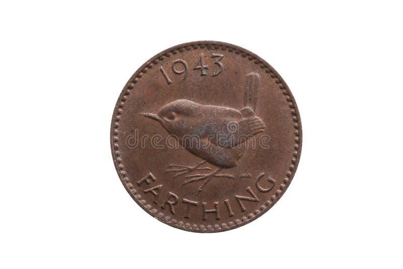 Старая pre монетка 1943 farthing Джордж VI десятичной дроби Англии Великобритании стоковое изображение rf