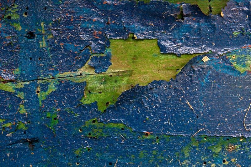 Старая woodan стена, затрапезная голубая краска как предпосылка стоковая фотография