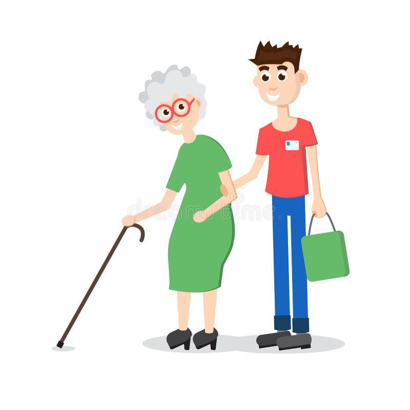 Старейшина порции человека Мальчик помогает пожилой женщине Плоский вектор стиля иллюстрация вектора