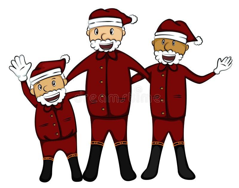 3 старика в шарже костюма Санта Клауса бесплатная иллюстрация