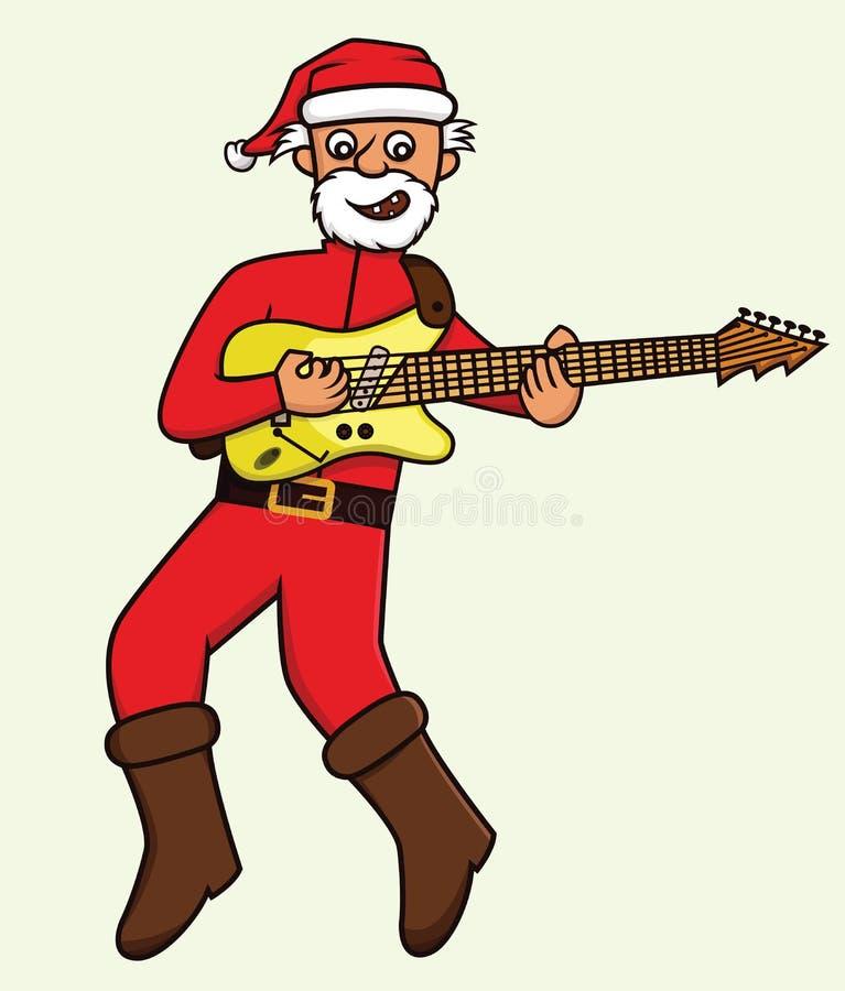 Старик в костюме Санта Клауса играя шарж электрической гитары бесплатная иллюстрация