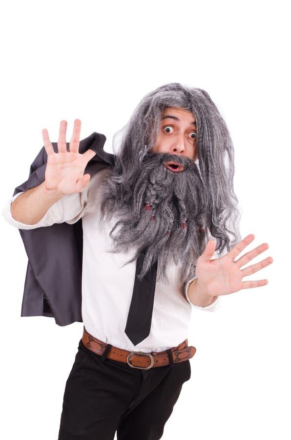 Старик в смешной концепции стоковое изображение