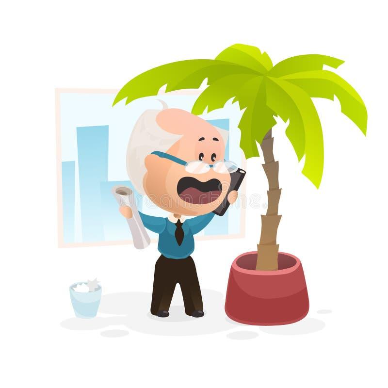 Старик говоря эмоционально по телефону иллюстрация вектора