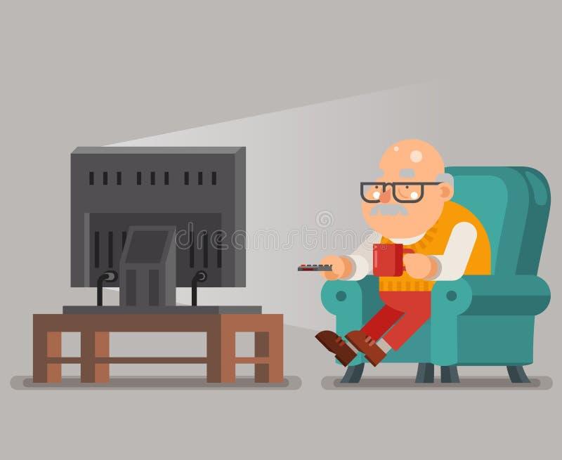 Старик деда смотря ТВ сидит иллюстрация вектора дизайна персонажа из мультфильма кресла плоская бесплатная иллюстрация