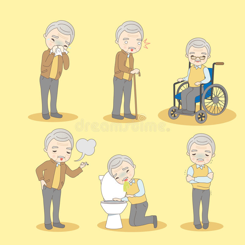 Старик имеет различную проблему иллюстрация вектора