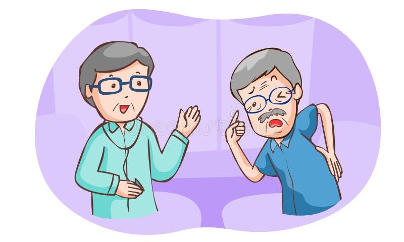 Старик и иллюстрация доктора иллюстрация штока