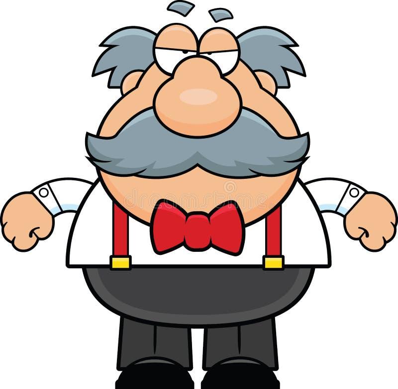 Старик мультфильма с усиком сварливым иллюстрация штока