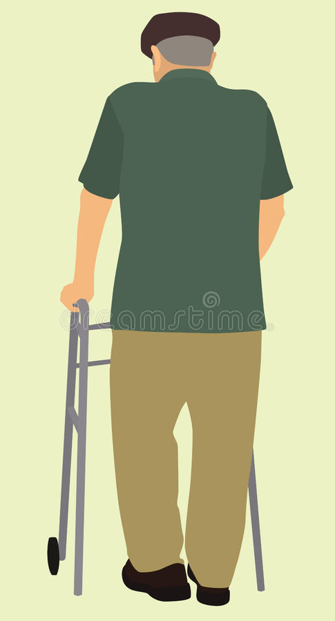 Старик от позади иллюстрация вектора