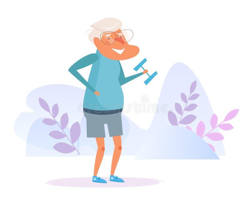 Старик поднимает вектор спорта гантели шарж Изолированное искусство на белой предпосылке бесплатная иллюстрация