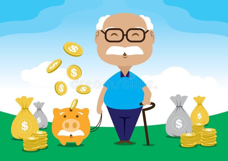 Старик сохраняет для файла вектора выхода на пенсию иллюстрация штока