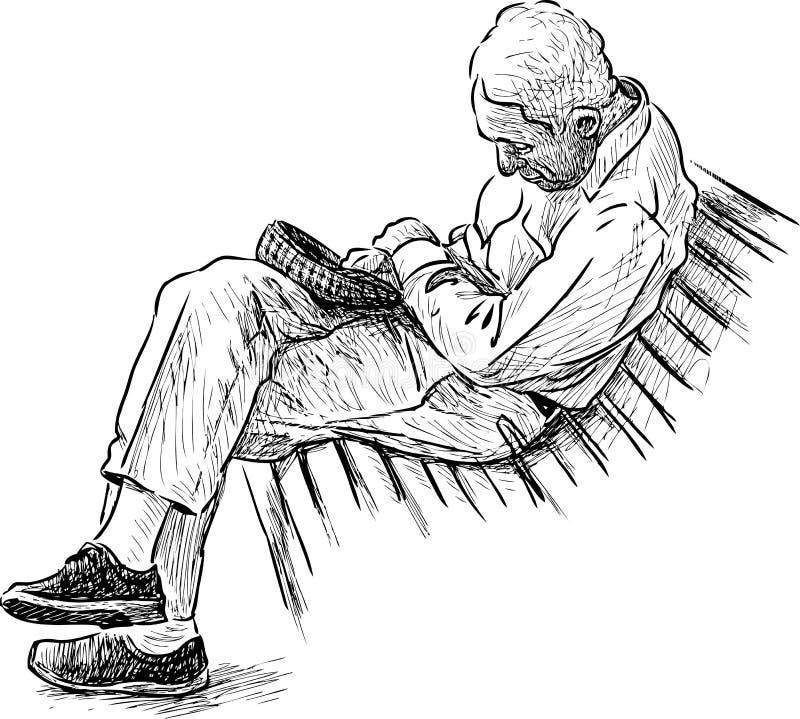 Старик спать на скамейке в парке иллюстрация вектора