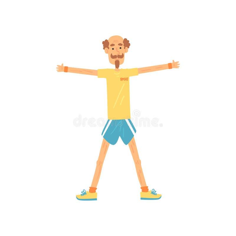 Старик стоя с плеч-шириной ног врозь и делая повышение бортовых оружий Пожилой характер с усиком и бородой иллюстрация вектора