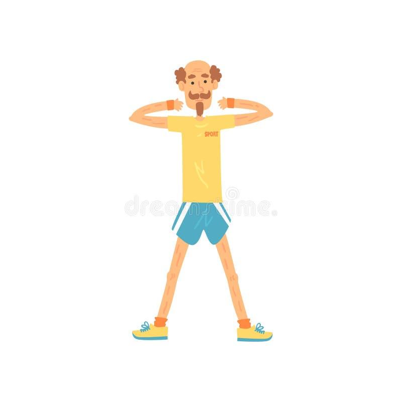 Старик стоя с плеч-шириной ног врозь и поднимая оружия на уровне плеча Усмехаясь мужской характер в шортах и
