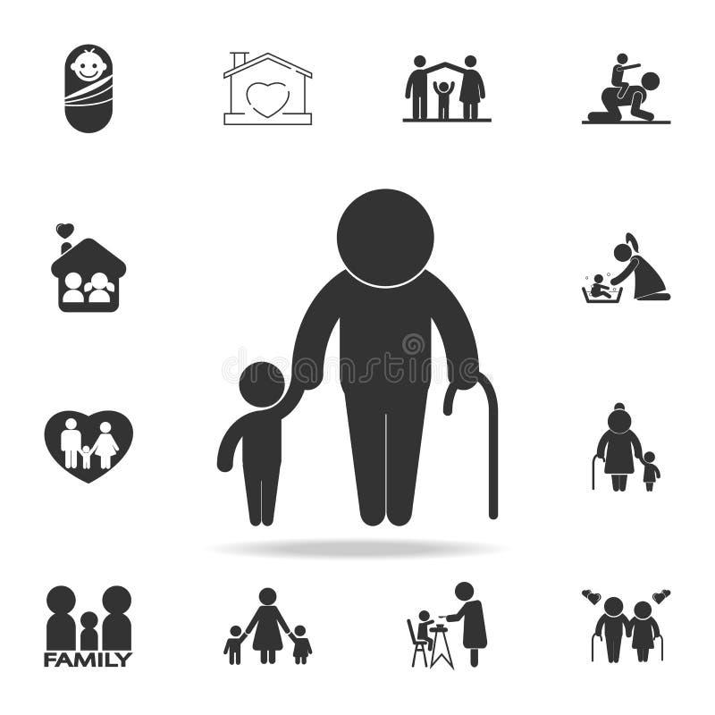 Старик с значком ребенка Икона семьи Детальный комплект человеческих значков части тела Наградной качественный графический дизайн иллюстрация штока
