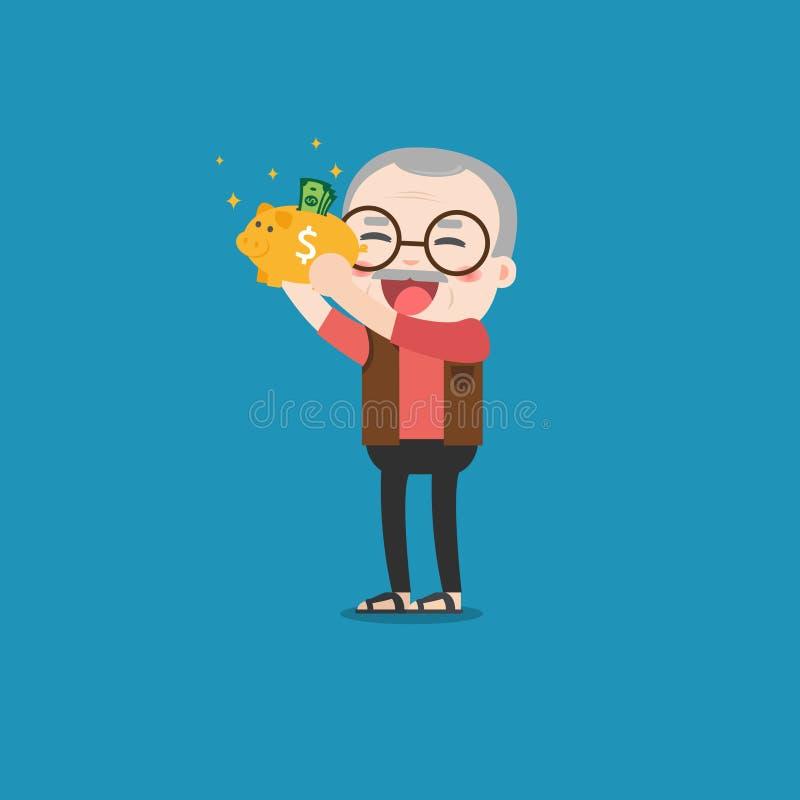 Старик с золотой копилкой иллюстрация штока