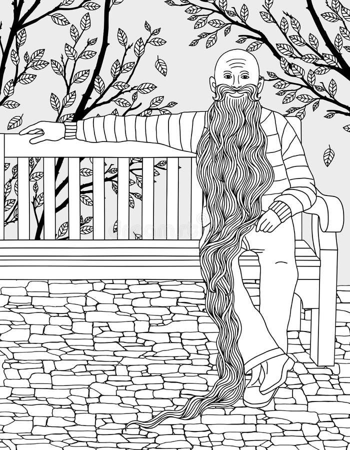 Старик с очень длинной бородой в парке иллюстрация вектора