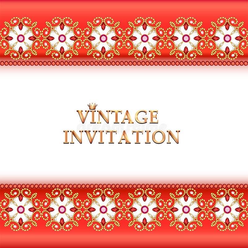 старинный фон, элегантные антиквариаты, золотой орнамент викторианской кухни, барокко рама, красивое приглашение иллюстрация штока