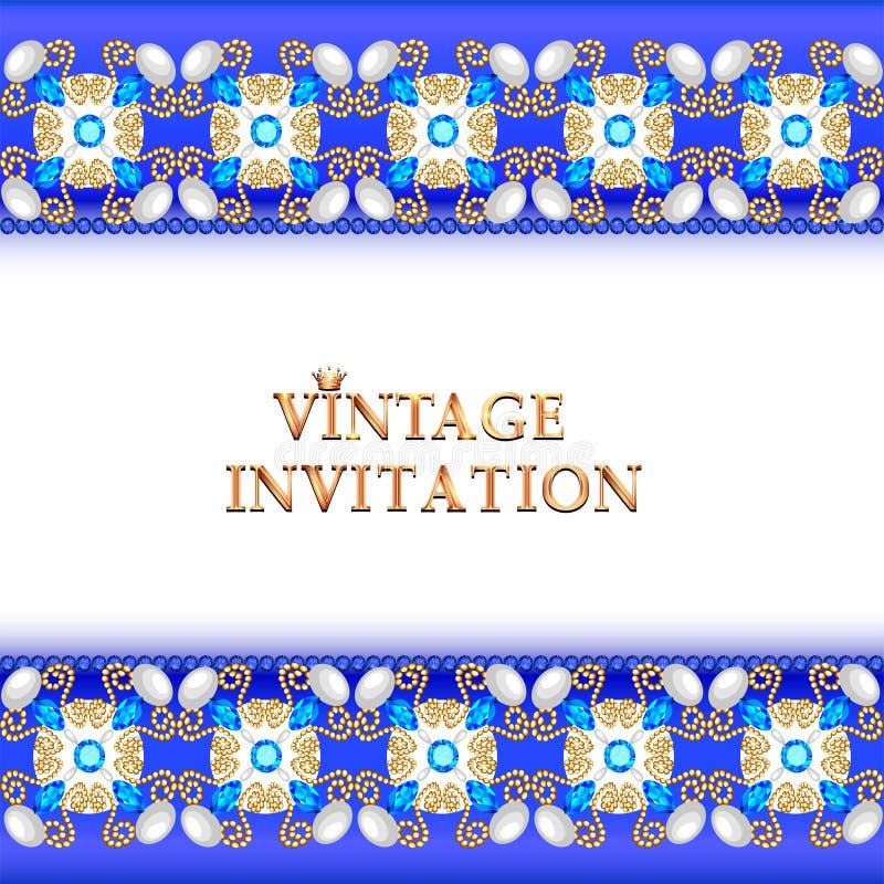 старинный фон, элегантные антиквариаты, золотой орнамент викторианской кухни, барокко рама, красивое приглашение бесплатная иллюстрация