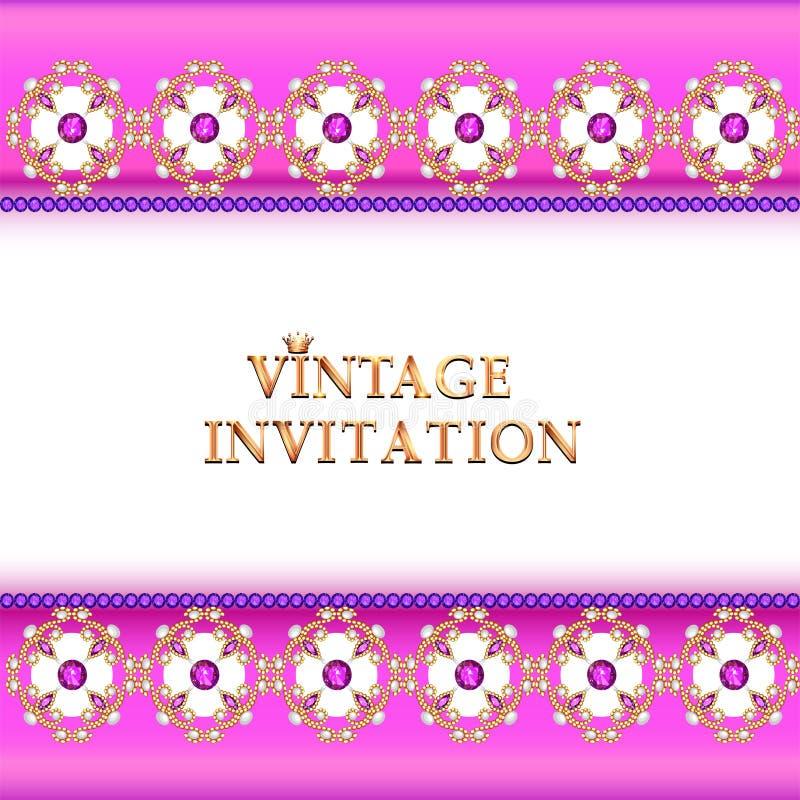 старинный фон, элегантные антиквариаты, золотой орнамент викторианской кухни, барокко рама, красивое приглашение иллюстрация вектора